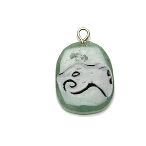 Saber Tooth Tiger on Green Aventurine Stone Cave Painting 27x39mm , Approx.Pendant by Halcraft Collection