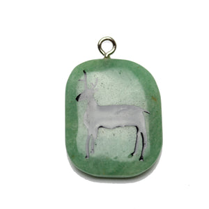 Stag on Green Aventurine Stone Cave Painting 27x39mm , Approx.Pendant by Halcraft Collection
