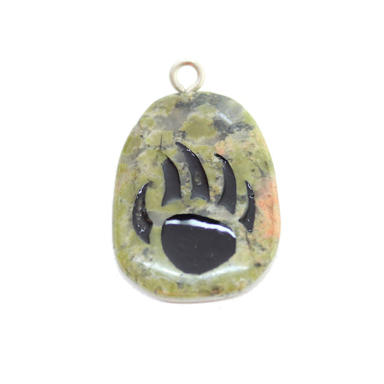 Bear Claw on Unakite Stone Cave Painting 27x39mm , Approx.Pendant by Halcraft Collection