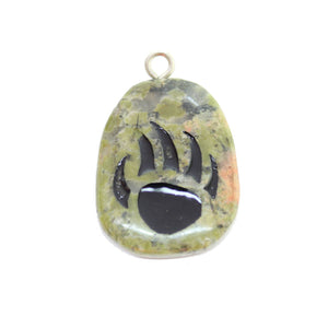 Bear Claw on Unakite Stone Cave Painting 27x39mm, Colgante aproximado de Bead Gallery
