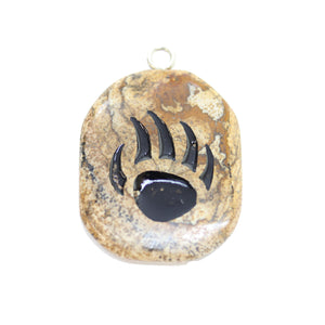 Bear Claw on Picture Jasper Stone Cave Painting 27x39mm, aprox. Colgante de Bead Gallery