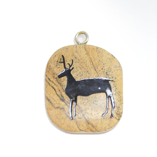 Stag on Picture Jasper Stone Cave Painting 27x39mm , Approx.Pendant by Halcraft Collection