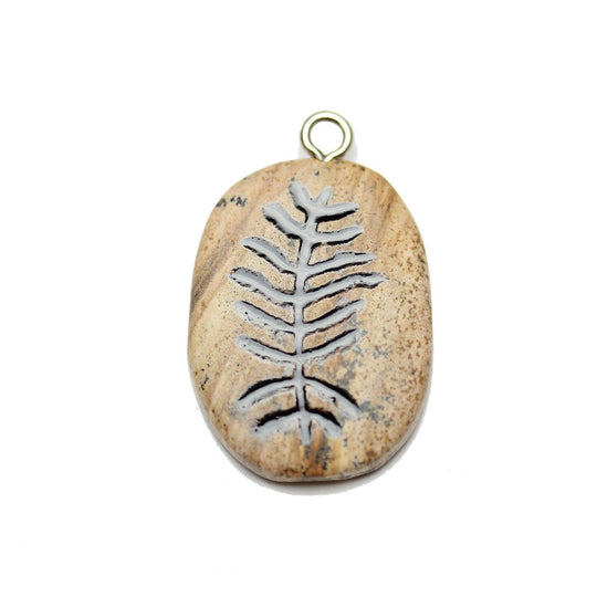 Fern on Picture Jasper Stone Cave Painting 27x39mm , Approx.Pendant by Halcraft Collection
