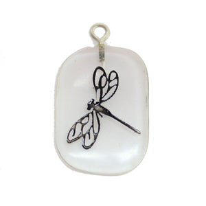 Dragonfly on Crystal Quartz Stone Cave Painting 27x39mm, aprox. Colgante por Bead Gallery
