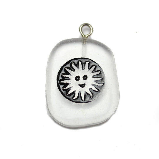 Sun on Crystal Quartz Stone Cave Painting 27x39mm , Approx.Pendant by Bead Gallery