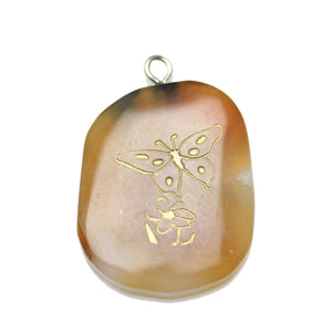 Gold Butterfly on Agate Stone Cave Painting 27x39mm , Approx.Pendant by Bead Gallery