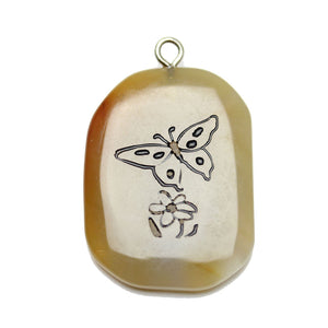 Butterfly on Agate Stone Cave Painting 27x39mm , Approx.Pendant by Bead Gallery