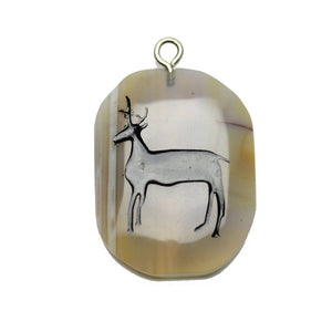 Stag on Agate Stone Cave Painting 27x39mm , Approx.Pendant by Bead Gallery