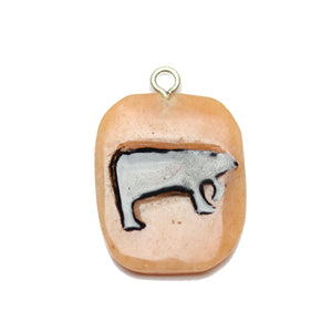 Polar Bear on Red Aventurine Stone Cave Painting 27x39mm , Approx.Pendant by Bead Gallery