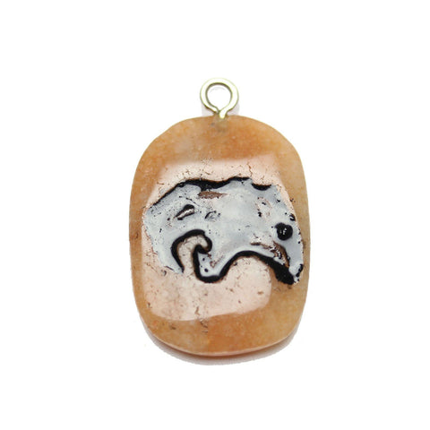Saber Tooth Tiger on Red Aventurine Stone Cave Painting 27x39mm, Approx.