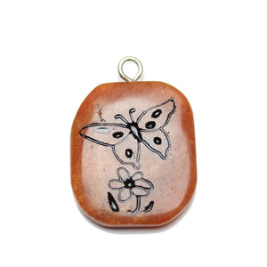 Butterfly on Red Aventurine Stone Cave Painting 27x39mm , Approx.Pendant by Bead Gallery