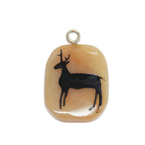 Stag on Red Aventurine Stone Cave Painting 27x39mm , Approx.Pendant by Bead Gallery