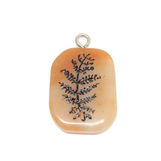 Fern on Red Aventurine Stone Cave Painting 27x39mm , Approx.Pendant by Bead Gallery