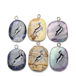 Pendant, Pendants, Stone, Semiprecious, Semi-precious, Stone Pendant, Semiprecious Pendant, Semi-precious Pendant, Oval, Oval Pendant, Carved Pendant, Carve Pendant, Native, Native Pendant, Cave Painting Pendant, Cave, Painting, Bundle, Pendant Bundle, 27x39mm, approx., 27mm, 39mm, Purple Fluorite, Sodalite, Picture Jasper, Sodalite, Jasper, Fluorite, Purple, Blue, White, Brown, Black, Antelope, Antelope Pendant, Sodalite Pendant, Jasper Pendant, Fluorite Pendant