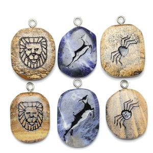 Picture Jasper & Sodalite Stone Cave Painting BundlePendido por Bead Gallery