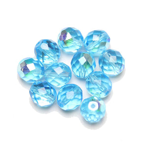 Czech Fire Polished Faceted Glass Round 10mm  Light Aqua AB