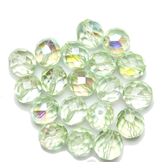 Czech Fire Polished Faceted Glass Round 10mm  Crystal Dual Coated Full Peridot over Half AB