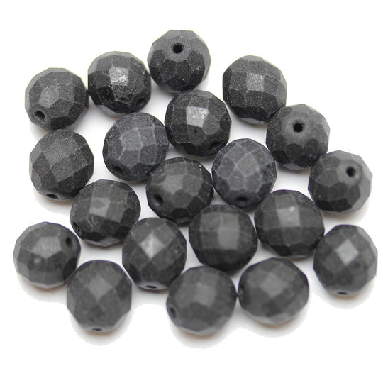 Czech Fire Polished Faceted Glass Round 10mm  Black Matte