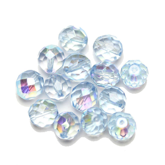 Czech Fire Polished Faceted Glass Round 10mm  Crystal Dual Coated Full Light Azore over Half AB