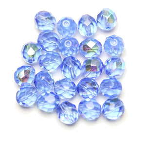 Czech Fire Polished Faceted Glass Round 8mm  Sapphire AB