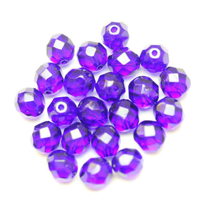 Czech Fire Polished Faceted Glass Round 8mm  Cobalt Blue