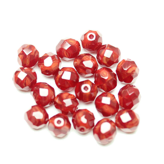 Czech Fire Polished Faceted Glass Round 8mm  Red Opal