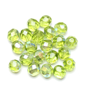 Czech Fire Polished Faceted Glass Round 8mm  Olivine AB