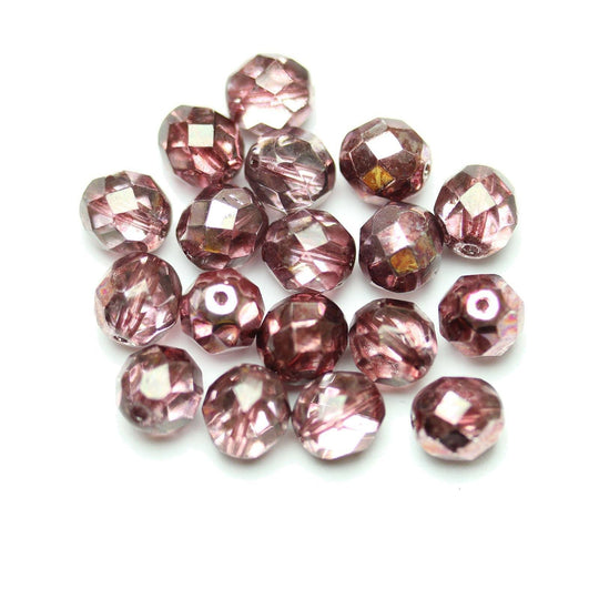 Czech Fire Polished Faceted Glass Round 8mm  Crystal Dual Coat with Full Burgundy over Half Silver