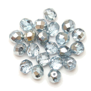 Czech Fire Polished Faceted Glass Round 8mm  Crystal Dual Coated Full Light Sapphire over Half Silver