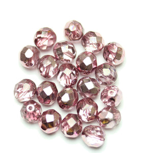 Czech Fire Polished Faceted Glass Round 8mm  Crystal Dual Coat with Full Dusky Rose over Half Silver