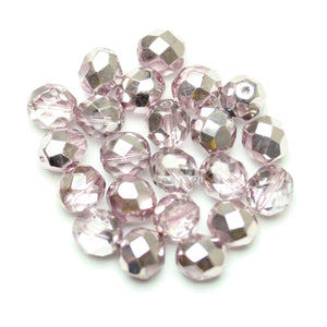 Czech Fire Polished Faceted Glass Round 8mm  Crystal Dual Coat with Light Amethyst over Half Silver