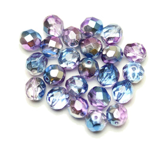 Czech Fire Polished Faceted Glass Round 8mm  Crystal with Triple Coat of Half Silver/Blue/Lavendar