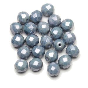 Czech Fire Polished Faceted Glass Round 8mm  White Chalk with Blue Luster Coating