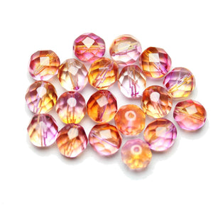 Czech Fire Polished Faceted Glass Round 8mm  Crystsal Dual Coated Half Fucshia/CantaloupeBeads by Halcraft Collection
