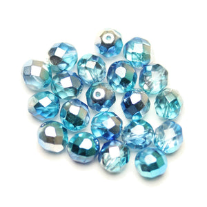 Czech Fire Polished Faceted Glass Round 8mm  Crystal Triple Coated Half Aqua/Blue/Silver