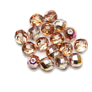 Czech Fire Polished Faceted Glass Round 8mm  Crystal Dual Coated Full Dark Rose over Half Silver