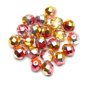 Bead, Beads, Czech, Czech Bead, Czech Beads, Faceted, Faceted Bead, Faceted Beads, Fire Polished, Fire Polished Bead, Fire Polished Beads, Glass, Glass Bead, Glass Beads,Round, Round Bead, Round Beads, Fucshia, Pink, Orange, Coat, Coated, 8mm