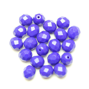 Czech Fire Polished Faceted Glass Round 8mm  Blue OpaqueBeads by Halcraft Collection