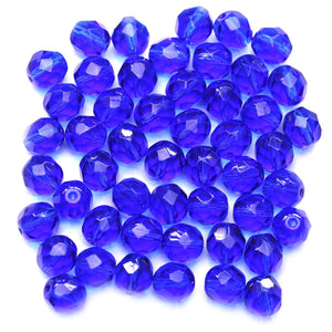 Czech Fire Polished Faceted Glass Round 8mm Dark SapphireBeads by Halcraft Collection
