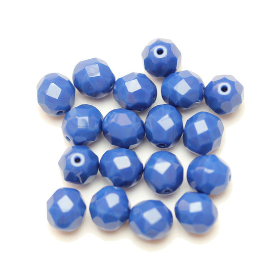 Czech Fire Polished Faceted Glass Round 8mm  Denim Opaque