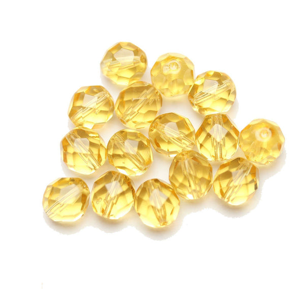 Czech Fire Polished Faceted Glass Round 8mm  Light Topaz
