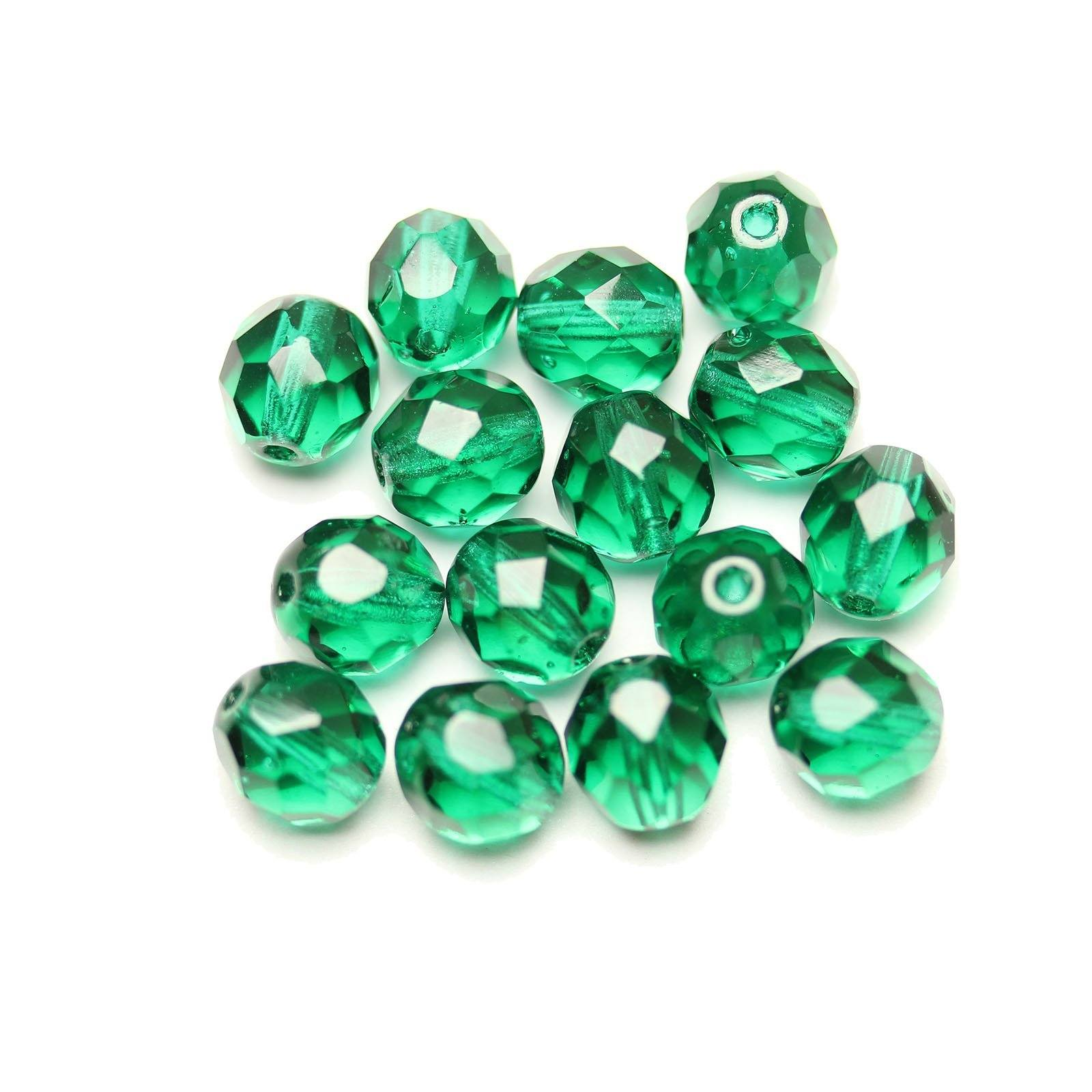25 8mm Round Faceted Fire Polish Czech Glass Beads Emerald Green AB