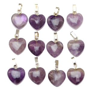 Amethyst Stone Heart Small Pendant 12x14.5mm Pendant by Halcraft Collection