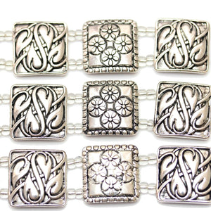Silver Plated Square 22mm Slider by Bead Gallery