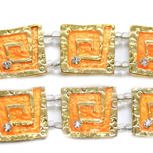 Orange Enamel Square Sliders with Rhinestones 22mmSlider by Halcraft Collection
