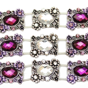 Purple and Crystal Rectangle SliderSlider by Bead Gallery