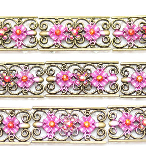 Pink Flower 20x40mm  SliderSlider by Bead Gallery