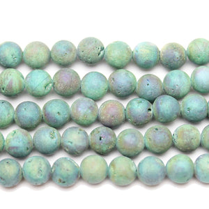 Green Coated Druzy Agate Round 8mm Beads by Halcraft Collection