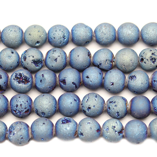 Blue Coated Druzy Agate Round 10mm Beads by Halcraft Collection