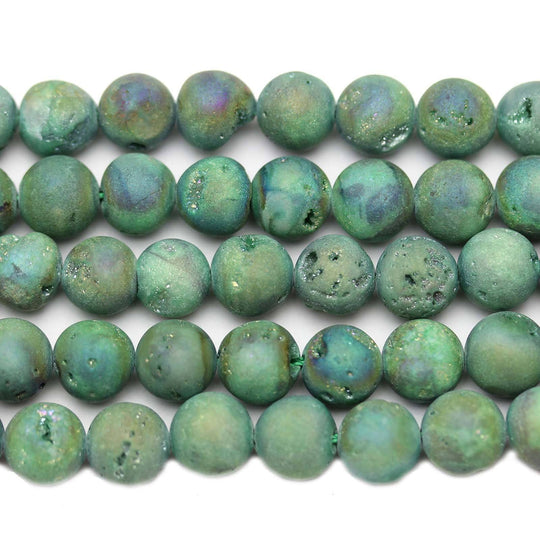 Green Coated Druzy Agate Round 10mm